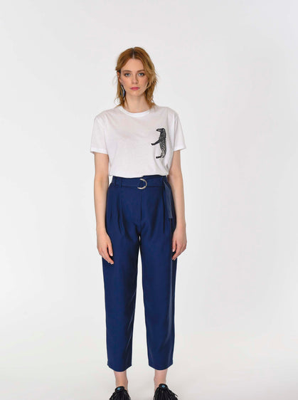 ROMAN USA-Navy Paper Bag Pant-- [DARK - BLUE]