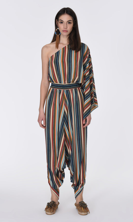 ONE SHOULDER STRIPED JUMPSUIT