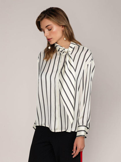B&W Ribbon Blouse