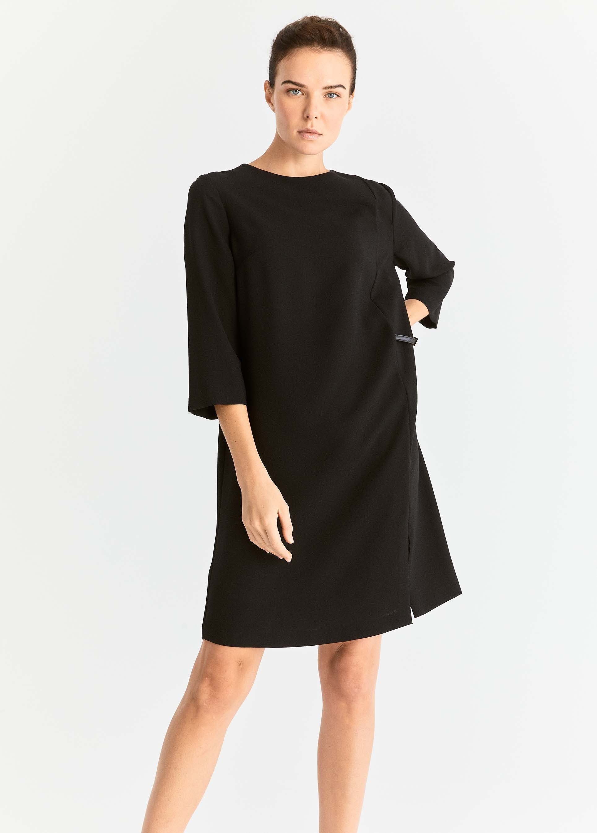 ROMAN USA-Buckle Detail Shift Dress-- [BLACK]