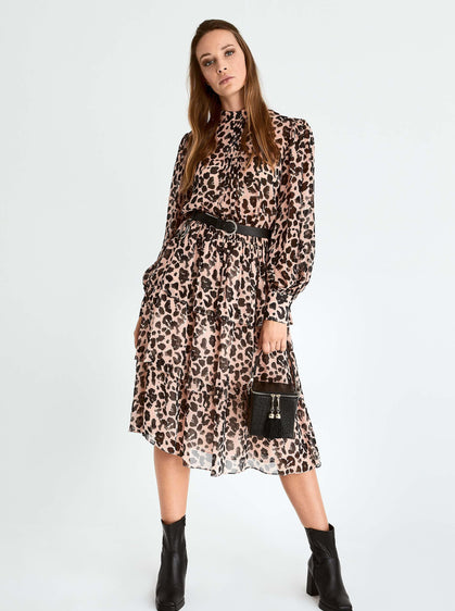 ROMAN USA-Pink Leopard Mockneck Dress-- [ORIGINAL]