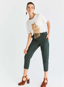 Green Tapered Cropped Pant