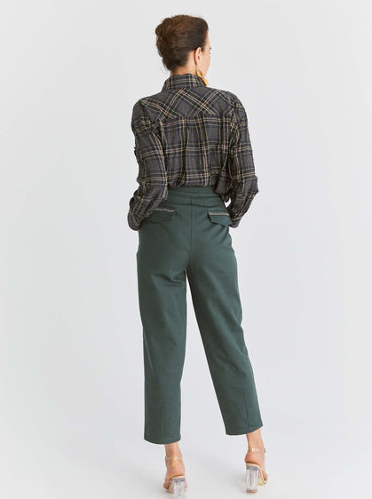 Cropped Boxy Fit Structured Pant