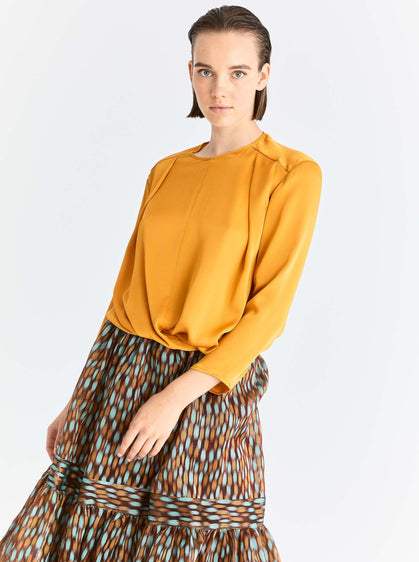 Gold Twist-Front Blouse