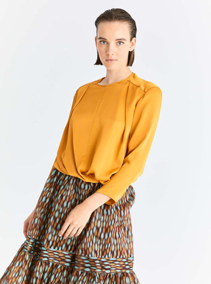 ROMAN USA-Gold Twist-Front Blouse-- [SAFFRON]