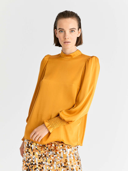 Gold Shirred Cuff Blouse
