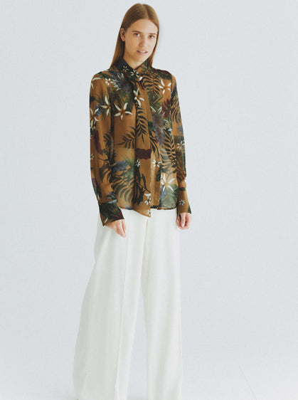 Olive Mockneck Jungle Print Blouse