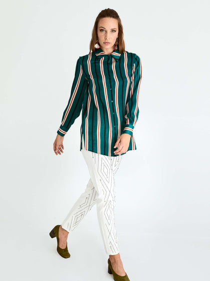 ROMAN USA-Emerald Striped Button Down-- [ORIGINAL]