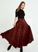 Red Leopard Print Maxi Skirt