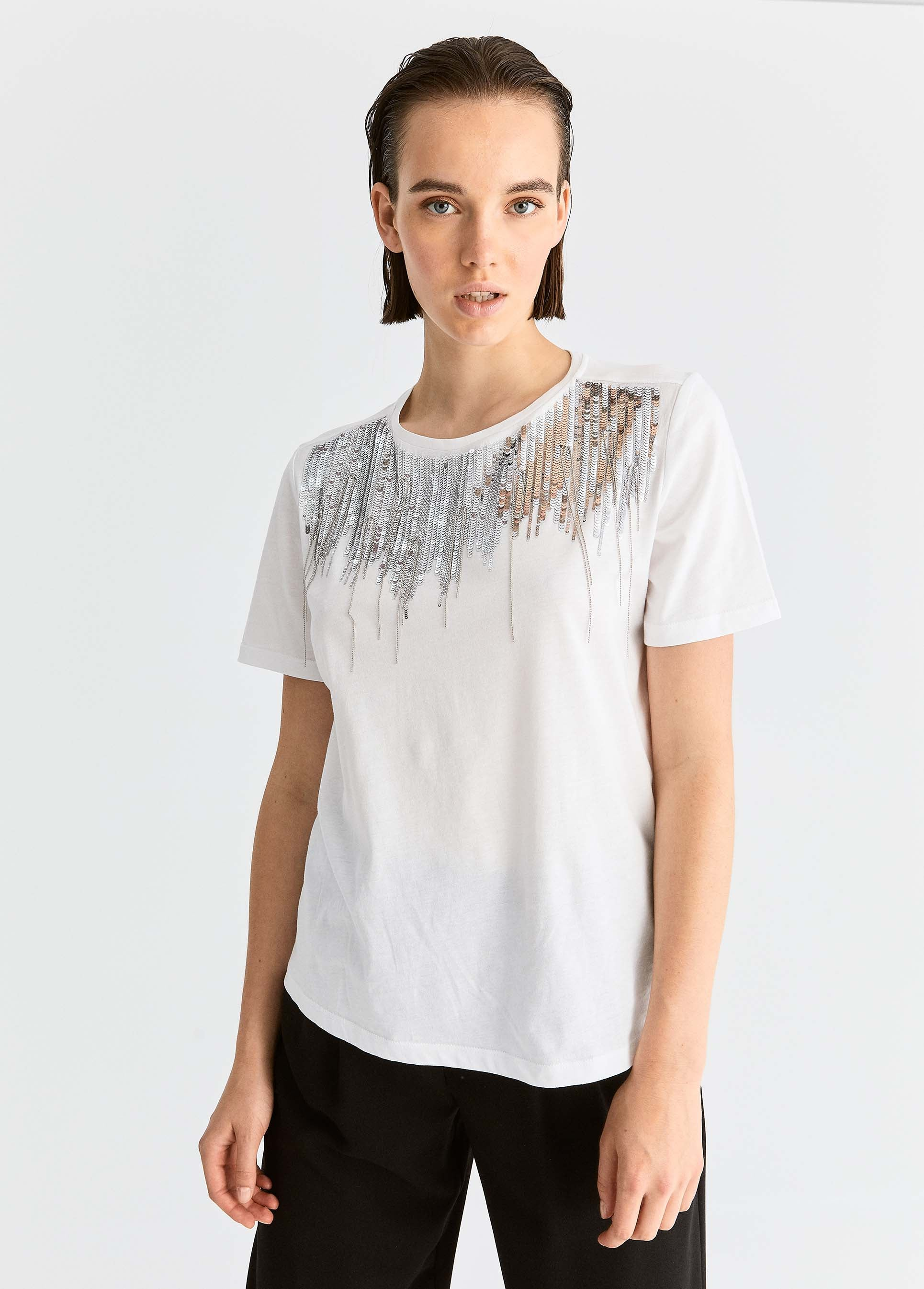 ROMAN USA-Sequin Cotton T-Shirt-- [WHITE]