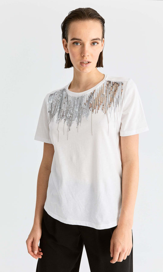 Sequin Cotton T-Shirt