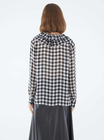 V-Neck Black Checked Blouse
