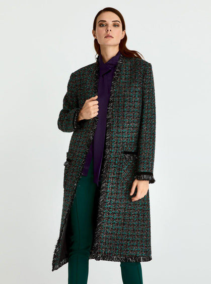 Straight Cut Tweed Winter Coat