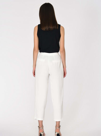White Tapered Canvas Pant