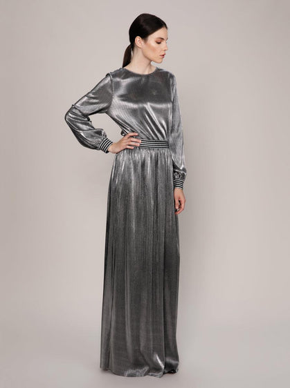 ROMAN USA-Metallic Maxi Dress-- [SILVER]