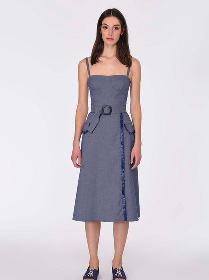 ROMAN USA-Chambray Bustier Sundress-- [INDIGO]