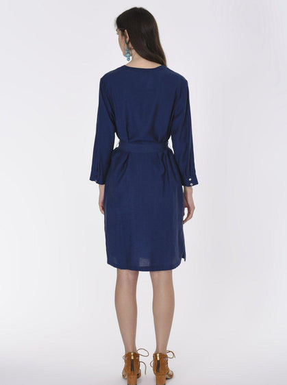 Belted Navy Shirt Dress
