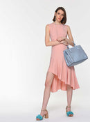 Asymmetric Flounce Midi Dress