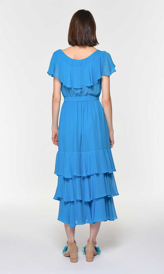 Turquoise Flounce Tier Maxi Dress