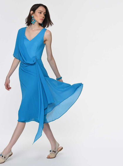 Asymmetric Teal Layered Dress