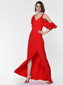 Ruffle-Sleeve Slit Gown