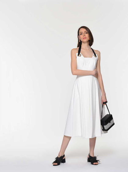 Pleated o-Ring Halter Dress