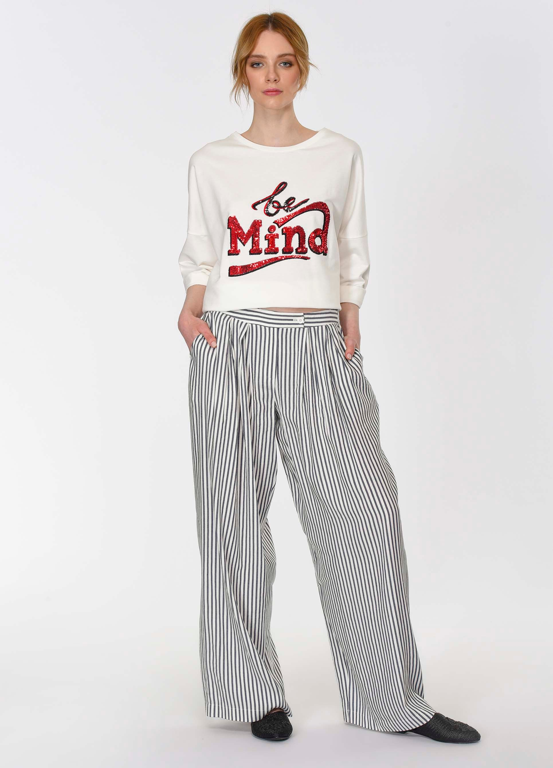 ROMAN USA-Ultra-Wide Leg Pinstripe Pant-- [ORIGINAL]