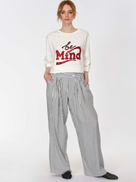 FRONT PLEATED WIDE LEG PANTS