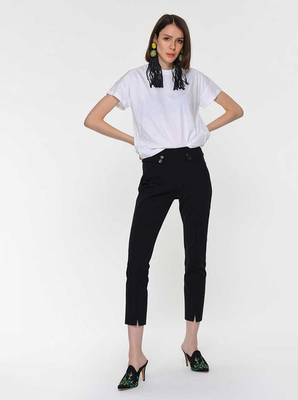 Button Detail Cigarette Pant