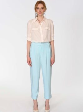 FRONT PLEATED HIGH WEST PANTS