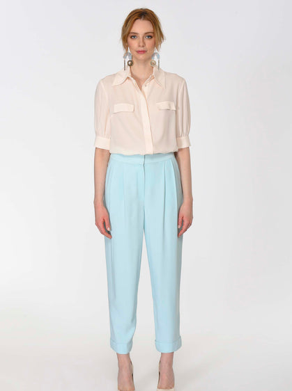 ROMAN USA-Pleated Mint Cuffed Pant-- [MINT-GREEN]