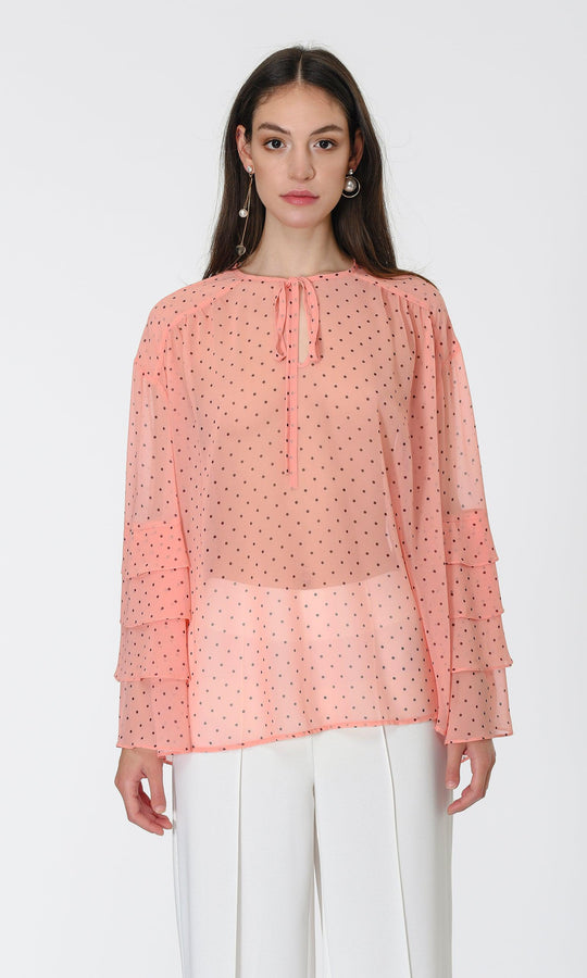RUFFLE SLEEVE TRANSPARENT BLOUSE