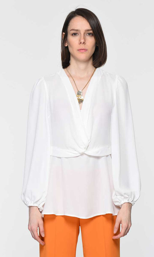 FRONT DETAILED BONE BLOUSE