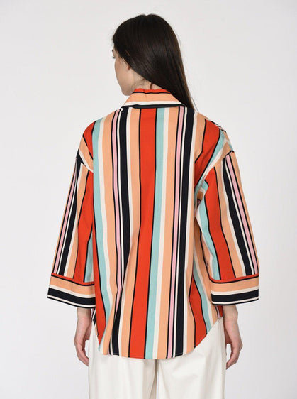 Deco Striped Wide Sleeve Dress Shirt