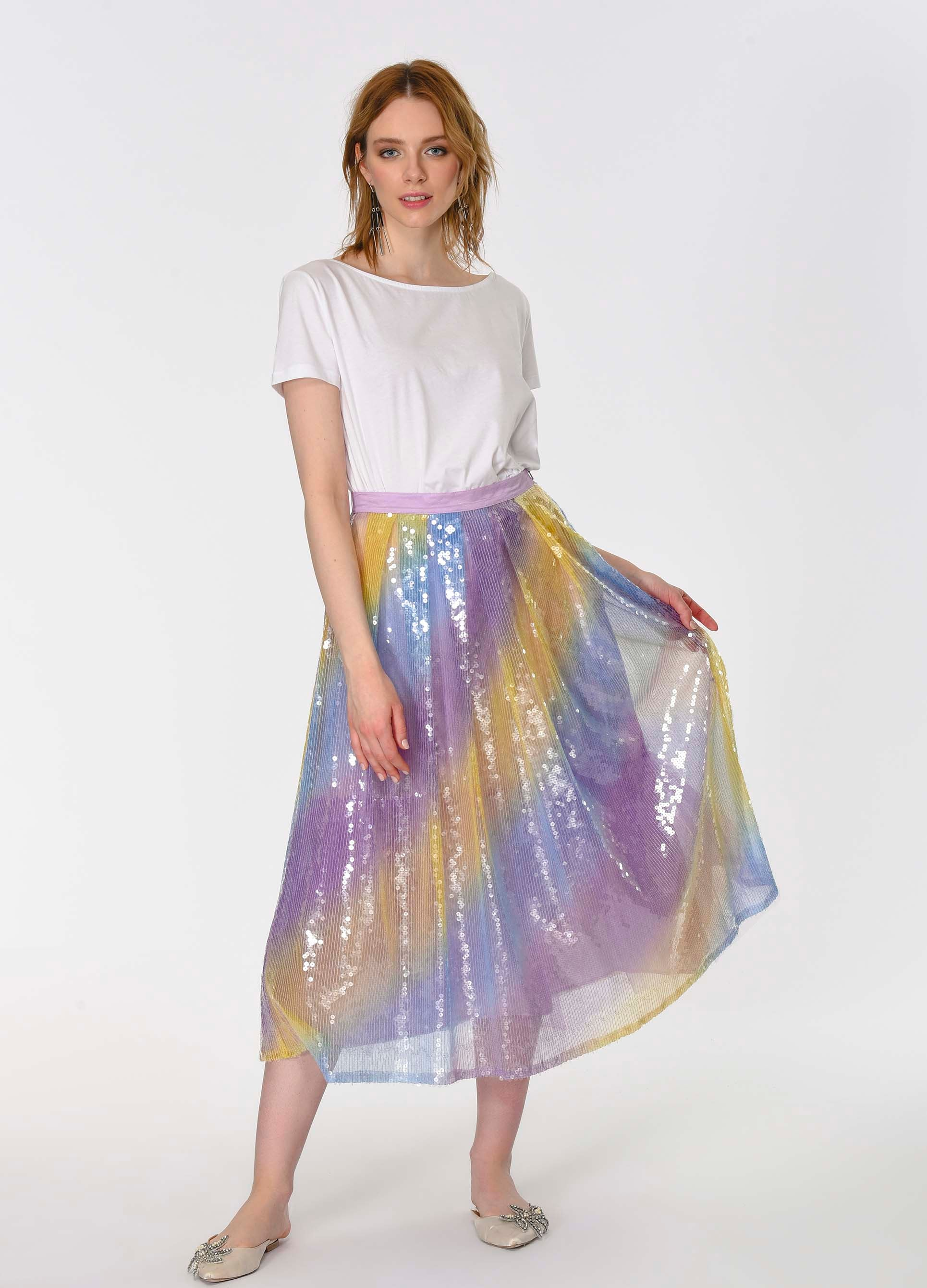 ROMAN USA-Mermaid Sequin Tea Skirt-- [ORIGINAL]