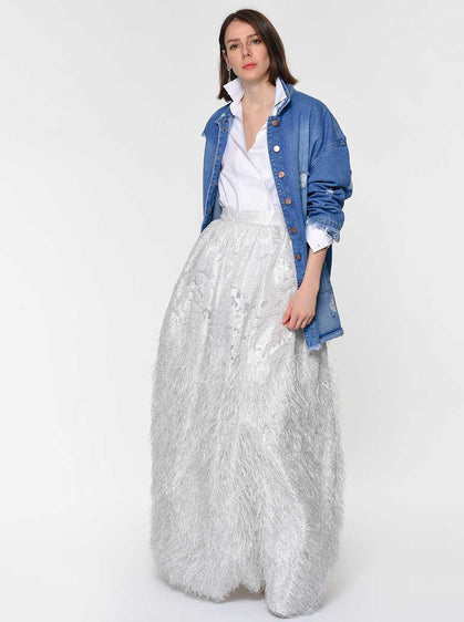 Pearl White Full Feathered Skirt