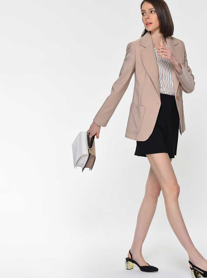 Notched Collar Camel Blazer
