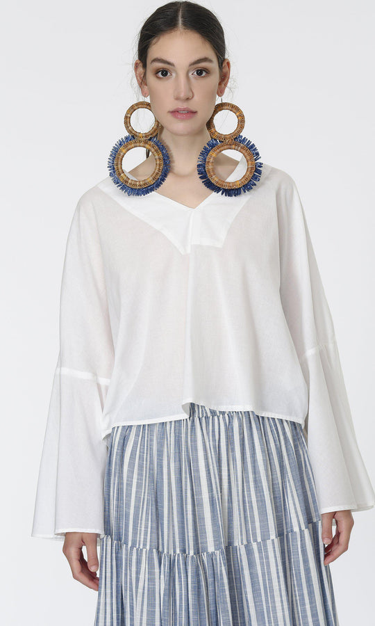 WIDE SLEEVE COTTON BLOUSE