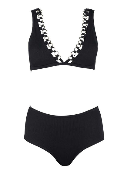 High-Waist Chain Detail Bikini Set