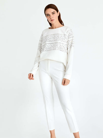 ROMAN USA-Studded Panel Sweater-- [WHITE]