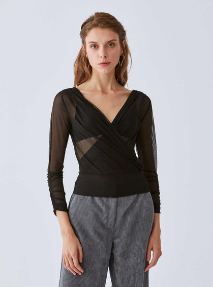 Sheer V-Neck Wrap Top