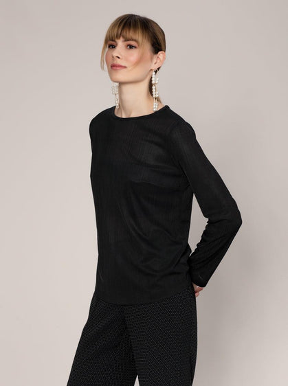 ROMAN USA-Ribbed Black Long Sleeve-- [BLACK]
