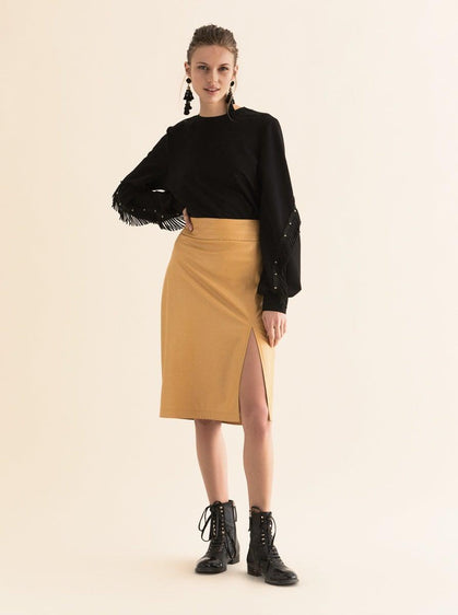 ROMAN USA-Faux Leather Pencil Skirt-- [MUSTARD]