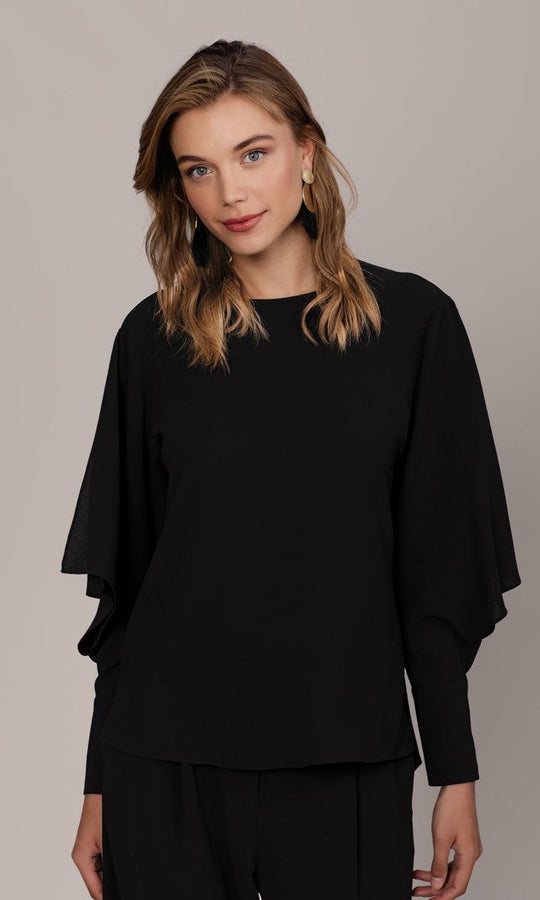 SLEEVE DETAILED BLACK BLOUSE