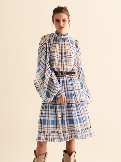 ROMAN USA- [BLUE] Checked Split Sleeve Dress-- [ORIGINAL]