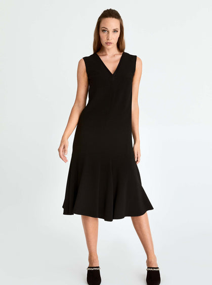 ROMAN USA-V-Neck Sheath Dress-- [BLACK]