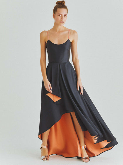 Cobalt-Peach Hi-Low Gown