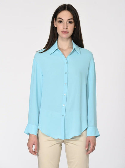 LONG SLEEVE AQUA BLOUSE
