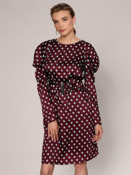 ROMAN USA-Regal Puffed Sleeve Dress-- [BURGUNDY]