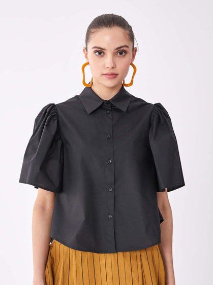 ROMAN USA-Puff Sleeve Button Down-- [BLACK]